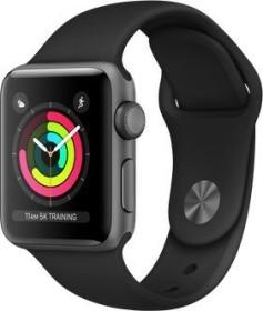 Apple Watch Series 3 (GPS) Aluminium 38mm grau mit Sportarmband schwarz (MTF02ZD/A)