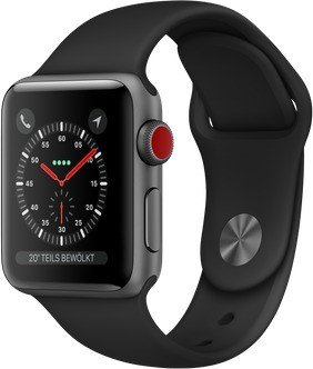 Apple Watch Series 3 (GPS + Cellular) 38mm Space Grey Aluminium Case with Black Sport Band (MTGP2ZD/A)