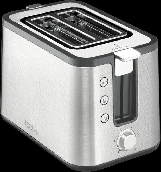 Krups KH442 Control Line Edelstahl-Schwarz Toaster 720 Watt Brötchenaufsatz
