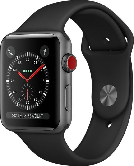 Apple Watch Series 3 (GPS + Cellular) 42mm Space Grey Aluminium Case with Black Sport Band (MTH22ZD/A)