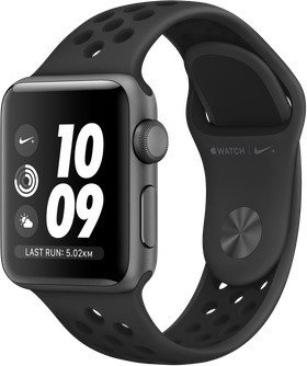 Apple Watch Nike+ Series 3 (GPS) Aluminium 38mm grau mit Sportarmband anthrazit/schwarz (MTF12ZD/A)