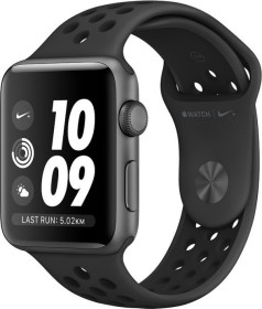 Apple Watch Nike+ Series 3 (GPS) Aluminium 42mm grau mit Sportarmband anthrazit/schwarz (MTF42ZD/A)