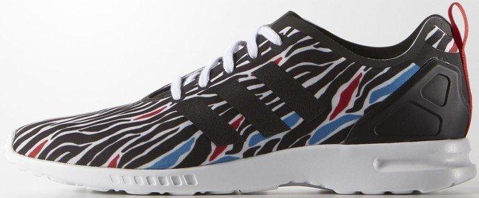 a4dc5296d6bab adidas zebra Print ZX Flux Smooth white core black red (ladies ...