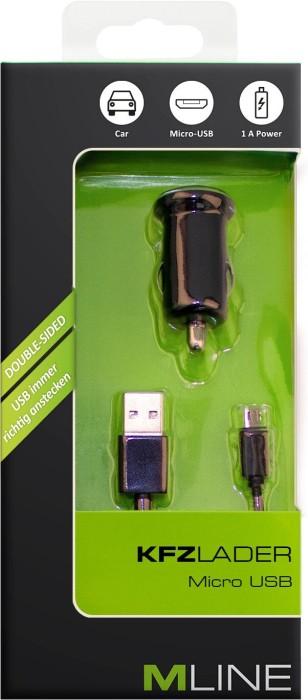 MLine Kfz-Lader mit Micro-USB-Kabel schwarz (HMICROUSB3004BKDS)