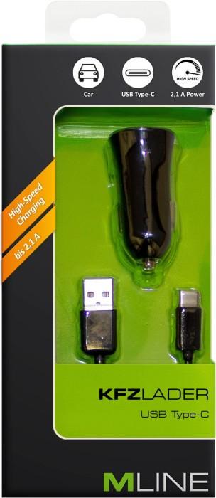 MLine Kfz-Lader mit USB-C-Kabel schwarz (HUSBC3002BK)