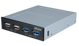 Akasa InterConnect S Hub 4-port, USB 3.0/USB 2.0, Multifunktionspanel (AK-ICR-12)