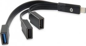 Conceptronic HUBBIES schwarz USB-Hub, 1x USB-A 3.0, 2x USB-A 2.0, USB-C 3.0 [Stecker] (HUBBIES01B)