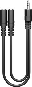 Wentronic Goobay audio Y cable adapter, 1x 3.5mm jack [plug] > 2x 3.5mm jack [socket], 0.2m (50464)