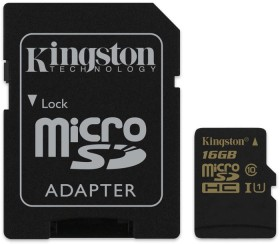 Kingston R90/W45 microSDHC 16GB Kit, UHS-I, Class 10 (SDCA10/16GB)