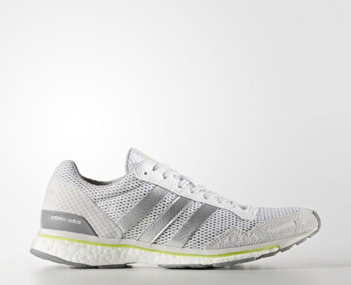 adidas adizero Adios 3 footwear white/silver metallic/solar yellow (Damen)  (BY2782)