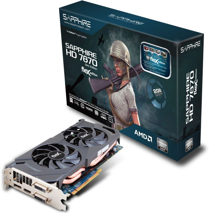 Sapphire Radeon HD 7870 GHz Edition FleX, 2GB GDDR5, 2x DVI, HDMI, DisplayPort, full retail (11199-10-40G)