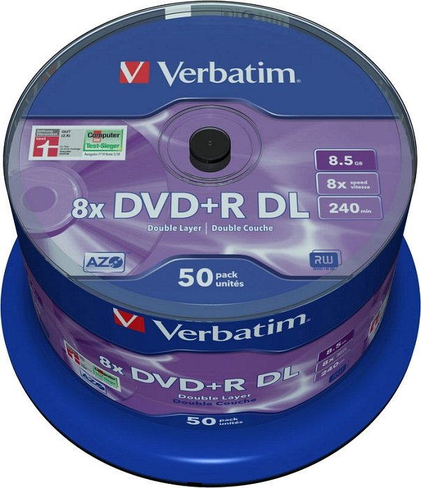 Verbatim DVD+R 8.5GB DL 8x, 50-pack Spindle (43758)