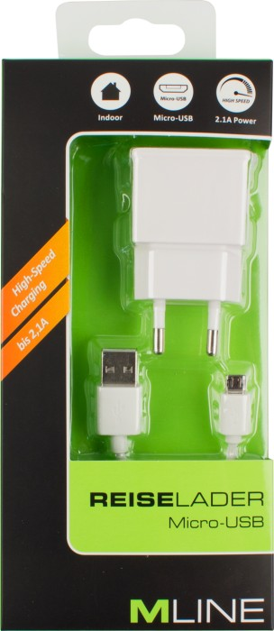 MLine Reiselader Single USB 2.1A & Double-sided Lade- & Datenkabel für Micro USB weiß (HMICROUSB3502WHDS)