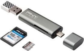 PNY Dual-Slot-Cardreader, USB-C 3.0 [Buchse] (R-TC-UA-3N1E01-RB)