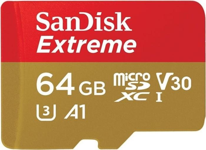 SanDisk Extreme R100 microSDXC 64GB Kit, UHS-I U3, A1, Class 10 (SDSQXAF-064G-GN6MA/SDSQXAF-064G-GN6AA)