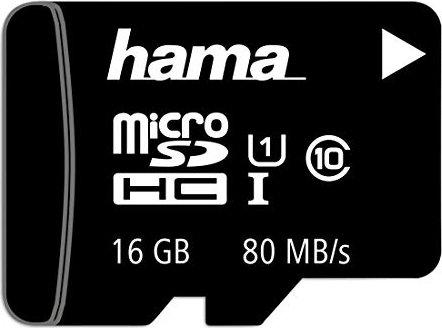 Hama R80 microSDHC 16GB Kit, UHS-I, Class 10 (124138)
