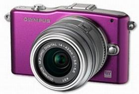 Olympus PEN E-PM1 violett mit Objektiv M.Zuiko digital ED 12-50mm (V20601FVE000)