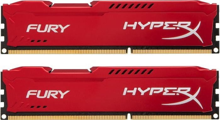 Kingston HyperX Fury red DIMM kit 16GB, DDR3-1600, CL10 (HX316C10FRK2/16)