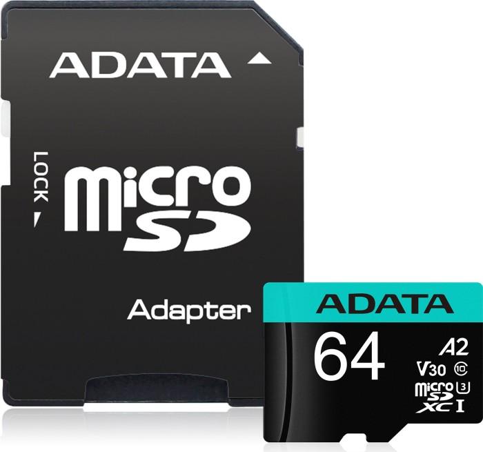 ADATA Premier Pro R100/W80 microSDXC 64GB Kit, UHS-I U3, A2, Class 10 (AUSDX64GUI3V30SA2-RA1)