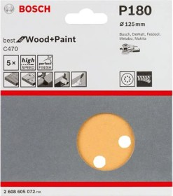 Bosch Professional C470 Best for Wood and Paint random orbit sander sheet 125mm K180, 5-pack (2608605072)