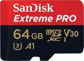 SanDisk Extreme PRO R100/W90 microSDXC 64GB Kit, UHS-I U3, A1, Class 10 (SDSQXCG-064G-GN6MA)