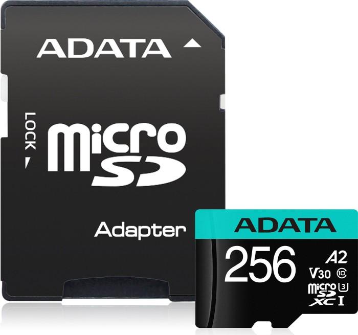 ADATA Premier Pro R100/W80 microSDXC 256GB Kit, UHS-I U3, A2, Class 10 (AUSDX256GUI3V30SA2-RA1) -- via Amazon Partnerprogramm