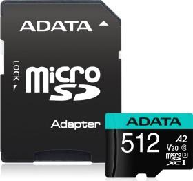 ADATA Premier Pro R100/W80 microSDXC 512GB Kit, UHS-I U3, A2, Class 10 (AUSDX512GUI3V30SA2-RA1)