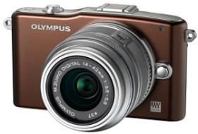 Olympus PEN E-PM1 braun mit Objektiv M.Zuiko digital ED 12-50mm (V20601FNE000)