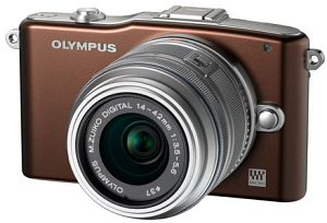 Olympus PEN E-PM1 (EVIL) brown with lens M.Zuiko digital ED 12-50mm (V20601FNE000)