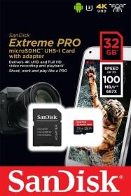 SanDisk Extreme PRO R100/W90 microSDHC 32GB Kit, UHS-I U3, A1, Class 10 (SDSQXCG-032G-GN6MA)