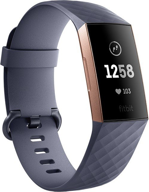 Fitbit Charge 3 Aktivitäts-Tracker blaugrau/aluminium/rosegold (FB409RGGY)