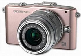Olympus PEN E-PM1 rosa mit Objektiv M.Zuiko digital ED 12-50mm (V20601FPE000)