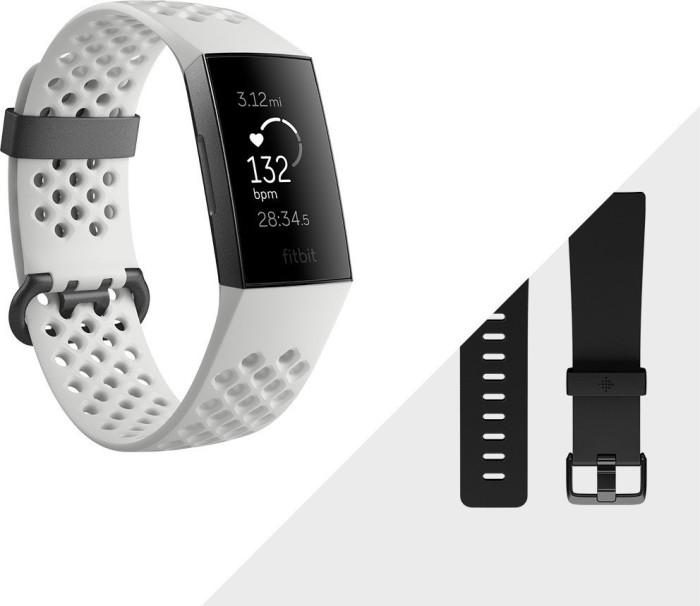 Fitbit Charge 3 Special Editon Aktivitäts-Tracker frostweiß/aluminium/graphitblau (FB410GMWT)