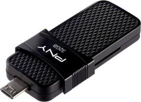 PNY Duo Link OTG Micro USB 3.0 32GB, USB-A 3.0/USB 2.0 Micro-B (P-FD32GOTGSLMB-GE)