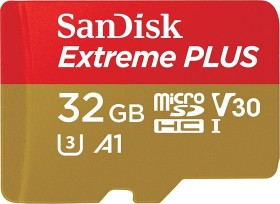 SanDisk Extreme PLUS R100/W90 microSDHC 32GB Kit, UHS-I U3, A1, Class 10 (SDSQXBG-032G-GN6MA)