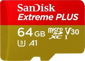 SanDisk Extreme PLUS R100/W90 microSDXC 64GB Kit, UHS-I U3, A1, Class 10 (SDSQXBG-064G-GN6MA)