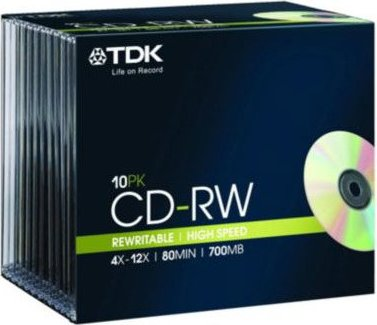 TDK CD-RW 80min/700MB, 10er-Pack -- via Amazon Partnerprogramm