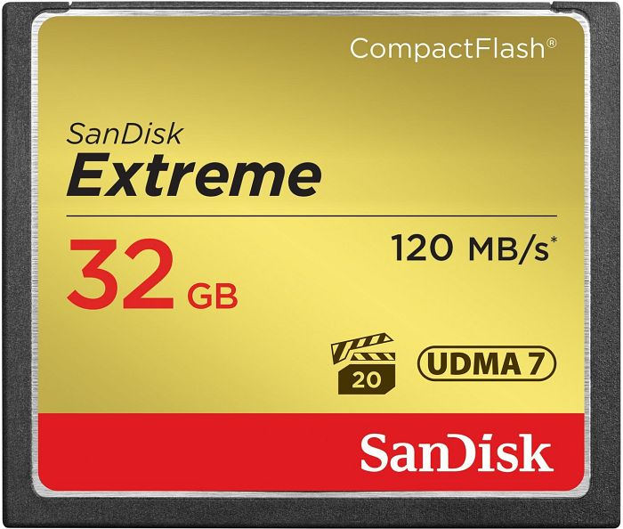 SanDisk CompactFlash Card (CF) extreme 32GB 120MB/s (SDCFXS-032G-X46)