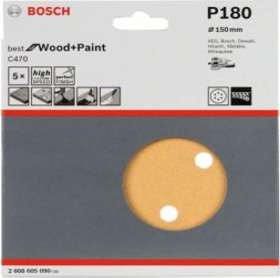 Bosch Exzenterschleifblatt C470 Best for Wood and Paint 150mm K180, 5er-Pack (2608605090)