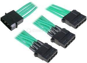 BitFenix Alchemy 4-pin molex on 3x 4-pin molex 55cm, sleeved green (BFA-MSC-M3MGK-RP) -- © caseking.de