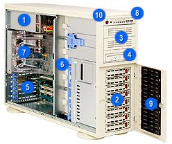 Supermicro 743T-R760 light grey, 4U, 760W redundant