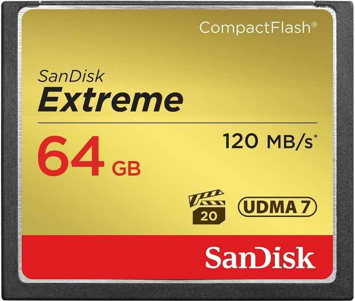 SanDisk CompactFlash Card (CF) extreme 64GB 120MB/s (SDCFXS-064G-X46)