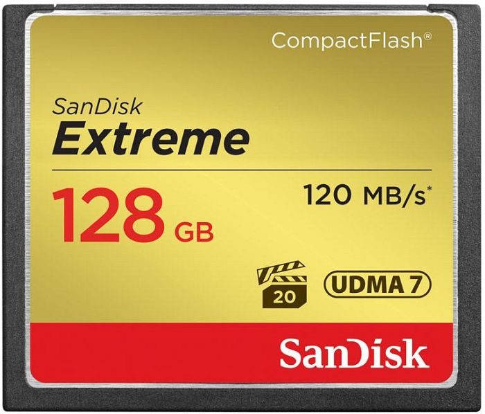 SanDisk R120/W60 CompactFlash Card [CF] Extreme 128GB (SDCFXS-128G)