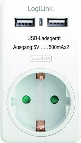 LogiLink Steckdosen Adapter, 2xUSB, 1.5m, weiß(PA0057) -- via Amazon Partnerprogramm