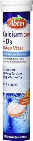 Abtei Calcium 1000 + Vitamin D3 Osteo Vital Brausetabletten, 15 Stück -- © ApoMedifot.de