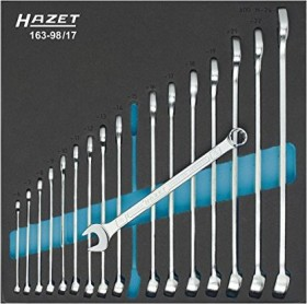 Hazet 163-98/17 ring-combination wrench set, 17-piece.