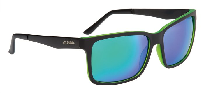 Alpina Sonnenbrille Sport Style DON HUGO, black matt-green, A8522331