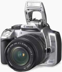 Canon EOS 350D silber mit Objektiv EF-S 18-55mm 3.5-5.6 und Batteriegriff BG-E3 (0207B032)
