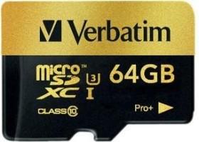 Verbatim Pro+ R90/W80 microSDXC 64GB Kit, UHS-I U3, Class 10 (44034)