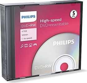 Philips DVD+RW 4.7GB, 5-pack Slimcase (DW4S4S05F)